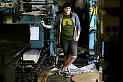 """EAST FALMOUTH -- 041411 -- Falmouth High School senior Samantha Scoville, the editor and chief of the school newspaper, """"The Intelligencer"""" at the Enterprise printing plant, where the school's weekly page is printed. RISING STAR  Cape Cod Times/Christine Hochkeppel 041411ch10"""