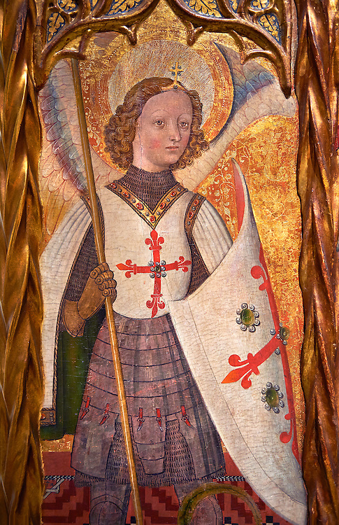 Gothic Catalan Altarpiece depicting the Archangel Gabriel by Bernat Martorell, circa 1442-1445, Tempera and gold leaf on wood.  National Museum of Catalan Art, Barcelona, Spain, inv no: MNAC  1442. .<br /> <br /> If you prefer you can also buy from our ALAMY PHOTO LIBRARY  Collection visit : https://www.alamy.com/portfolio/paul-williams-funkystock/gothic-art-antiquities.html  Type -     MANAC    - into the LOWER SEARCH WITHIN GALLERY box. Refine search by adding background colour, place, museum etc<br /> <br /> Visit our MEDIEVAL GOTHIC ART PHOTO COLLECTIONS for more   photos  to download or buy as prints https://funkystock.photoshelter.com/gallery-collection/Medieval-Gothic-Art-Antiquities-Historic-Sites-Pictures-Images-of/C0000gZ8POl_DCqE