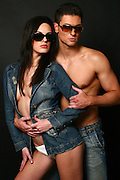 couple of sexy models with sunglasses, studio