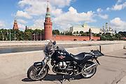 Moscow, Russia, 03/08/2013.<br /> Moto Guzzi Bellagio with Kremlin behind.