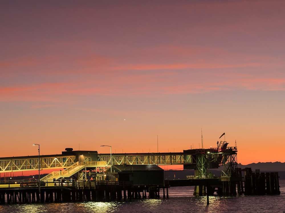 United States, Washington, Edmonds, Puget Sound, ferry terminal walkway
