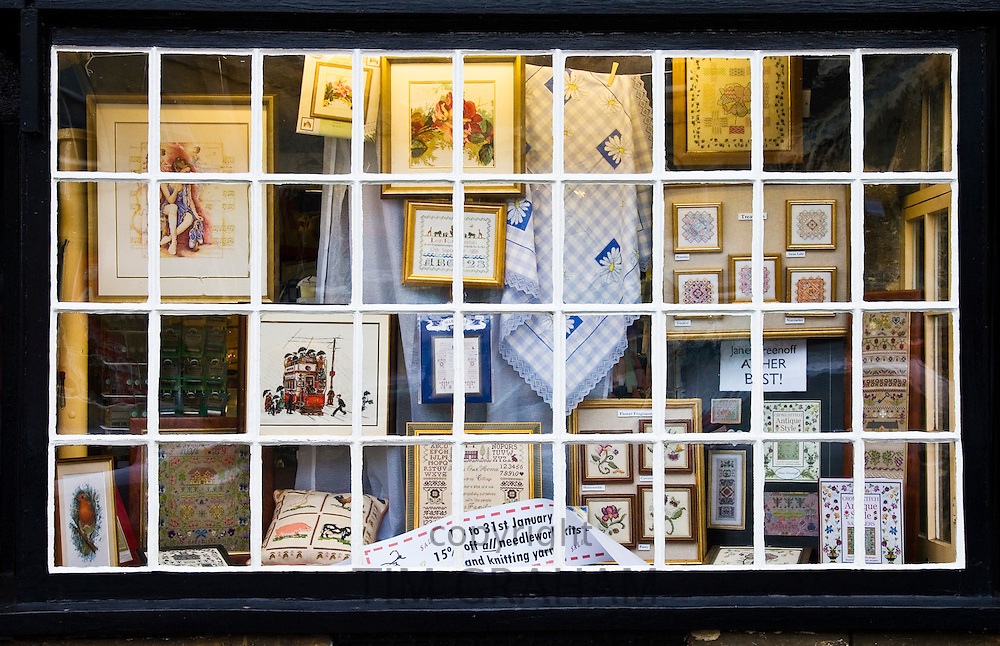 Craft shop window in Burford, Cotswolds, United Kingdom