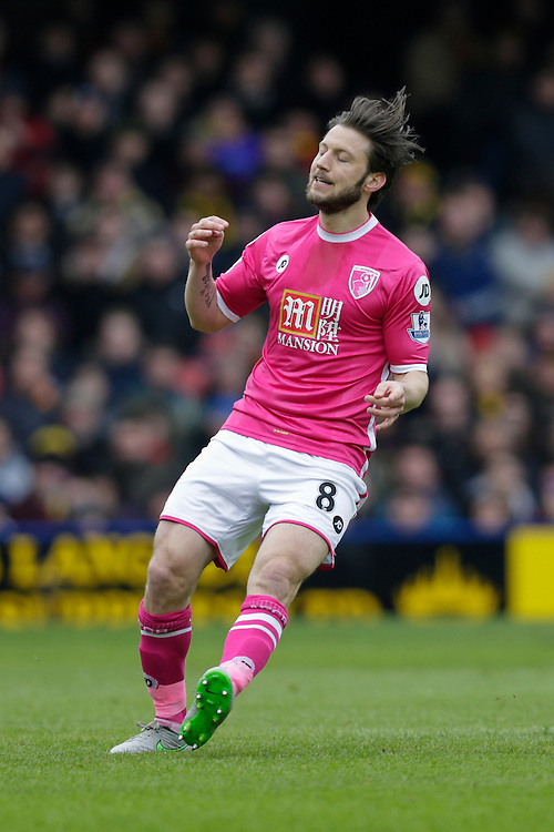 Bournemouth's Harry Arter reacts to a missed chance<br /> <br /> Photographer Craig Mercer/CameraSport<br /> <br /> Football - Barclays Premiership - Watford v Bournemouth - Saturday 27th February 2016 - Vicarage Road - Watford<br /> <br /> © CameraSport - 43 Linden Ave. Countesthorpe. Leicester. England. LE8 5PG - Tel: +44 (0) 116 277 4147 - admin@camerasport.com - www.camerasport.com
