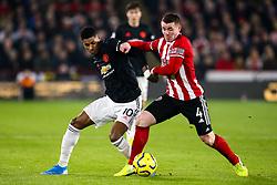 Marcus Rashford of Manchester United takes on John Fleck of Sheffield United - Mandatory by-line: Robbie Stephenson/JMP - 24/11/2019 - FOOTBALL - Bramall Lane - Sheffield, England - Sheffield United v Manchester United - Premier League
