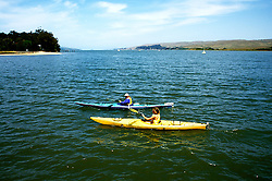 California: Marin County.  Couple kayaking on Tomales Bay.  Model Released..Photo copyright Lee Foster, 510/549-2202, lee@fostertravel.com, www.fostertravel.com..Photo # camari102