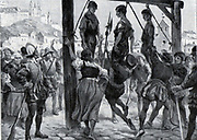 """Execution of the communards at Segovia 1520   During the war of the """"comunidades"""" (1520-1521), Segovia rose against Charles V, resisting the imperial troops for six months in the fortress under the command of Diego de Cabrera, preventing the fortress being taken by the comuneros who had become powerful in the walled enclosure of the city. The Romanesque Cathedral in front of the fortress was destroyed as a consequence of this."""