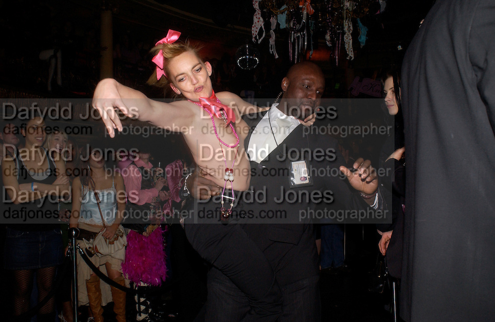 flasher at the  fashion show. 25th anniversary party and fashion show by Agent Provocateur at the Cafe de Paris, Coventry Street, London W1 on 14th February 2005.ONE TIME USE ONLY - DO NOT ARCHIVE  © Copyright Photograph by Dafydd Jones 66 Stockwell Park Rd. London SW9 0DA Tel 020 7733 0108 www.dafjones.com