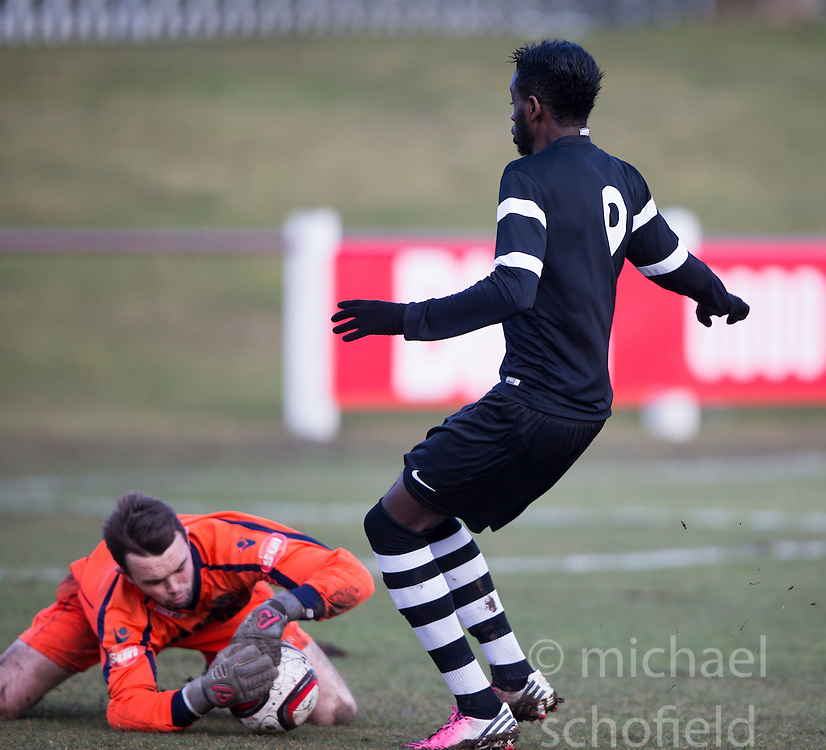 Whitehill Welfare keeper Bryan Young and Edusport Academy Yannick Monga Ebwa.<br /> half time : Whitehill Welfare 1 v 1 Edusport Academy, South Challenge Cup Quarter Final played 7/3/2015 at Ferguson Park, Carnethie Street, Rosewell.
