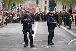 © Licensed to London News Pictures. 25/04/2019. London, UK. Security at the Anzac Day ceremony on Whitehall. Photo credit : Tom Nicholson/LNP