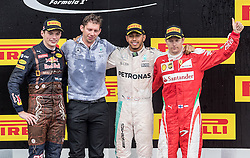 03-07-2016 AUT: Grand Prix van Oostenrijk Formule 1 Red Burg Ring, Spielberg<br /> Podium f.l. 2nd placed Dutch Formula One driver Max Verstappen of Red Bull Racing Chief Strategist of AMG Mercedes Team James Vowles Race winner British Formula One driver Lewis Hamilton of Mercedes AMG F1 3rd placed Finnish Formula One driver Kimi Raeikkoenen of Scuderia Ferrari during the Race for the Austrian Formula One Grand Prix at the Red Bull Ring in Spielberg<br /> <br /> ***NETHERLANDS ONLY***