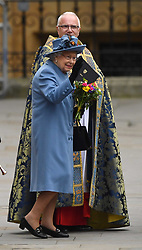 Queen Elizabeth II leaving after attending the Commonwealth Service at Westminster Abbey, London, on Commonwealth Day. The service is the Duke and Duchess of Sussex's final official engagement before they quit royal life.