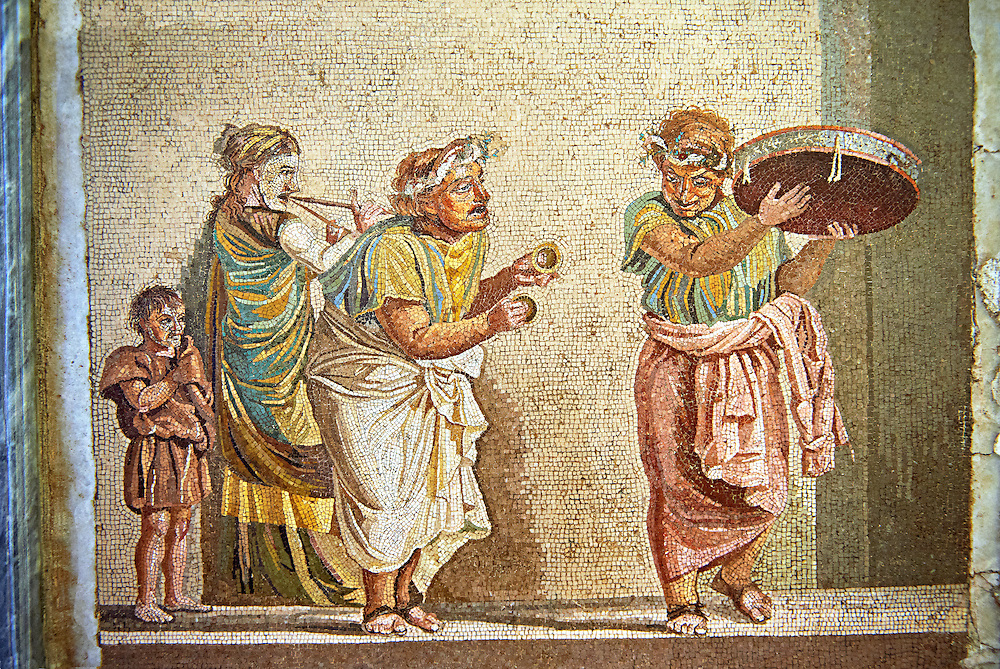 Roman mosaic of a scene from Meanders comedy Theophoroumene(the passed girl) with musical hawkers by Dioscurides of Samos. Pompeii from the so-called Villa of Cicero, Inv 9985, Naples Archaeological Musum, Italy ..<br /> <br /> If you prefer to buy from our ALAMY PHOTO LIBRARY  Collection visit : https://www.alamy.com/portfolio/paul-williams-funkystock - Scroll down and type - Roman Mosaic Naples - into LOWER search box. {TIP - Refine search by adding a background colour as well}.<br /> <br /> Visit our ROMAN ART & HISTORIC SITES PHOTO COLLECTIONS for more photos to download or buy as wall art prints https://funkystock.photoshelter.com/gallery-collection/The-Romans-Art-Artefacts-Antiquities-Historic-Sites-Pictures-Images/C0000r2uLJJo9_s0