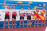 Brandenburg. GERMANY. GBR LM2-. Bow Joel CASSELLS and Sam SCRIMGEOUR, Gold Medalist.<br /> 2016 European Rowing Championships at the Regattastrecke Beetzsee<br /> <br /> Sunday  08/05/2016<br /> <br /> [Mandatory Credit; Peter SPURRIER/Intersport-images]
