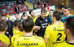 Gregor Cvijic, head coach of RK Gorenje with players during handball match between RD Slovan and RK Gorenje Velenje in Round #10 of 1. NLB Leasing liga 2015/16, on November 13, 2015 in Arena Kodeljevo, Ljubljana, Slovenia. Photo by Vid Ponikvar / Sportida