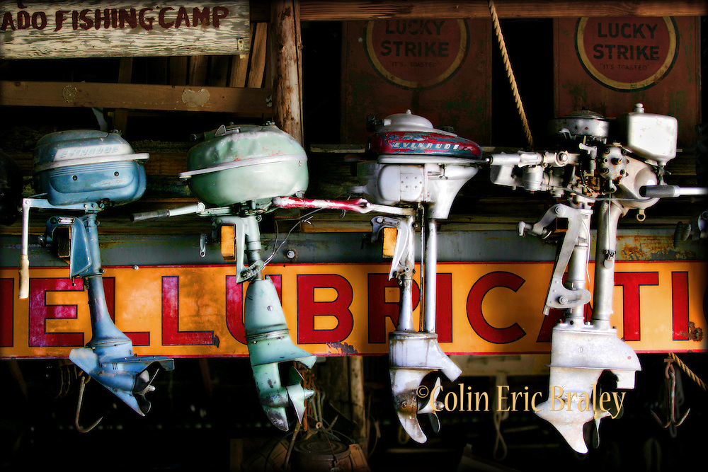 Antique outboard boat motors are lined up in an old barn in Nelson, Nevada. Colin Braley