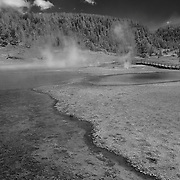 Geyser Pools And Stream - Yellowstone National Park - Black & White