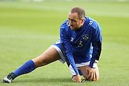 Lee Croft of Oldham Athletic warms up before the EFL Cup match between Oldham Athletic and Wigan Athletic at Boundary Park, Oldham, England on 9 August 2016. Photo by Simon Brady.