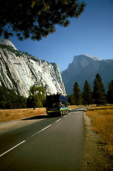 CA: Yosemite National Park, National Parks overcrowding, Open air bus in Yosemite       .Photo Copyright: Lee Foster, lee@fostertravel.com, www.fostertravel.com, (510) 549-2202.cayose234