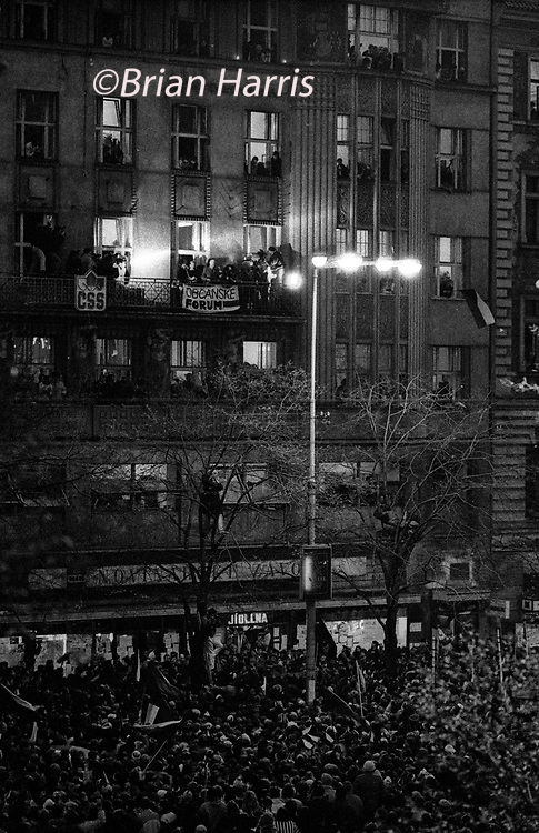 Czechoslovakia, Prague,1989 during the Velvet Revolution, the fall of communism in Eastern Europe. Alexander Dubcek and Vaclav Havel on the balcony above Wenceslas Square when Dubcek returned.<br /> COPYRIGHT PHOTOGRAPH BY BRIAN HARRIS  ©<br /> 07808-579804