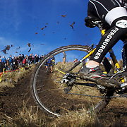 A competitor in action during the thrills and spills of the New Zealand Cyclocross Championships sponsored by AJ Hackett Bungy, held at Jardine Park,  Queenstown, as part of the Queenstown WInter Festival. The men's event was won by Dan Warren from Hastings while Anja McDonald from Dunedin won the women's event. Queenstown, New Zealand, 2nd July 2011
