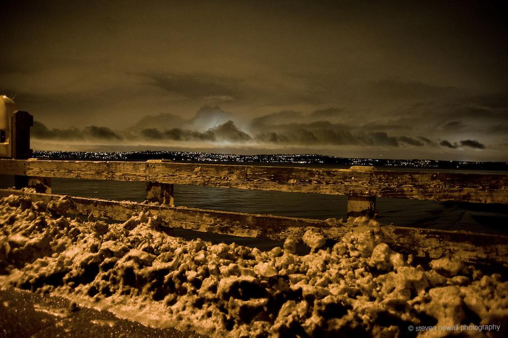 Vashon Ferry terminal during winter storm.