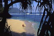 Couple on beach, Hanalei, Kauai, Hawaii, USA<br />