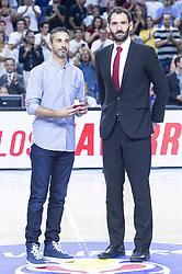 September 17, 2018 - Madrid, Spain - Juan Carlos Navarro and Jorge Garbajosa during the FIBA Basketball World Cup Qualifier match Spain against Latvia at Wizink Center in Madrid, Spain. September 17, 2018. (Credit Image: © Coolmedia/NurPhoto/ZUMA Press)