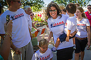 27 AUGUST 2012 - GILBERT, AZ:  SARAH PALIN walks into a Republican campaign event Monday. Sarah Palin campaigned for Arizona Republicans aligned with the Tea Party movement at a barbecue in Gilbert, AZ, a suburb of Phoenix. She campaigned for Kirk Adams, who is running for Congress and Jeff Flake, who is running for US Senate. Palin spoke and served barbecued chicken in 108 degree heat.      PHOTO BY JACK KURTZ