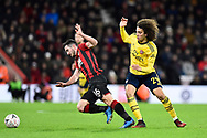 Matteo Guendouzi (29) of Arsenal fouls Lewis Cook (16) of AFC Bournemouth during the The FA Cup match between Bournemouth and Arsenal at the Vitality Stadium, Bournemouth, England on 27 January 2020.