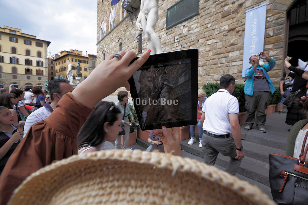 photographing David with an Ipad Italy Florence