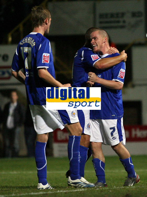 Photo: Rich Eaton.<br /> <br /> Hereford United v Leicester City. Carling Cup. 19/09/2006. Iain Hume right celebrates scoring from the penalty spot to make the score 3-1 to Leicester