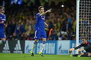Oscar of Chelsea celebrates after he scores his sides second goal from a penalty spot to make 2-0. UEFA Champions League group G match, Chelsea v Maccabi Tel Aviv at Stamford Bridge in London on Wednesday 16th September 2015.<br /> pic by John Patrick Fletcher, Andrew Orchard sports photography.