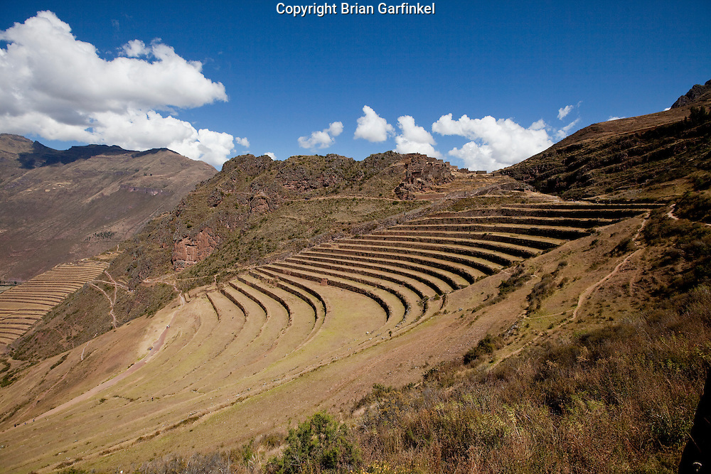 An ancient plantation on a mountain outside of Cusco Peru