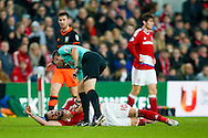 Middlesbrough forward, on loan from Valencia, Alvaro Negredo (10) feels a knock to his throat during the The FA Cup match between Middlesbrough and Sheffield Wednesday at the Riverside Stadium, Middlesbrough, England on 8 January 2017. Photo by Simon Davies.
