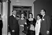 13/05/1962<br /> 05/13/1962<br /> 13 May 1962<br /> Variety Club Convention Cocktail Party at the Shelbourne Hotel, Dublin. Pictured are (l-r): Mr Victor Enock, Tent 41 Dublin; Mrs R. Edelshain, London; Mrs Victor Enock; Mrs Jack Cruise and Mr Jack Cruise.