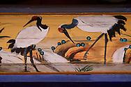 Red-crowned cranes, Details from the Taoist Bai Long Wang Miao, White Dragon King Temple, Beiyue Hengshan Mountain, Datong, Hunyuan County, Shanxi Province, China