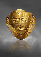 Mycenaean gold death mask, Mask of Agamemnon, Grave Cicle A, Mycenae, Greece.National Archaeological Museum of Athens.   Grey Art Background<br /> <br /> The mask from Grave V depicts an imposing face of a bearded man descovered by  Heinrich Schliemann who believed it was the body of Agamemnon, this is unproven to date.  The Mycenaean death mask belonged to a warrior and made of gold leaf it cocered the dead mans face held on by cord threaded tgrough the two sides of the mask.  The mask of Agamemnon was created from a single thick gold sheet, heated and hammered against a wooden background with the details chased on later with a sharp tool. The artifact dates from the 16th century BC. .<br /> <br /> If you prefer to buy from our ALAMY PHOTO LIBRARY  Collection visit : https://www.alamy.com/portfolio/paul-williams-funkystock/mycenaean-art-artefacts.html . Type -   Athens    - into the LOWER SEARCH WITHIN GALLERY box. Refine search by adding background colour, place, museum etc<br /> <br /> Visit our MYCENAEN ART PHOTO COLLECTIONS for more photos to download  as wall art prints https://funkystock.photoshelter.com/gallery-collection/Pictures-Images-of-Ancient-Mycenaean-Art-Artefacts-Archaeology-Sites/C0000xRC5WLQcbhQ