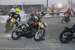 Hooligan racer and season points leader Andy DiBrino racing his No.1 Harley-Davidson on the flat track at the RSD Moto Beach Classic. Huntington Beach, CA, USA. Saturday October 27, 2018. Photography ©2018 Michael Lichter.