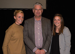 Bristol Academy's Sophie Ingle and Loren Dykes present a gift to a Centre of Excellence coach Mark Humphrey - Photo mandatory by-line: Paul Knight/JMP - Mobile: 07966 386802 - 11/10/2015 - Sport - Football - Bristol - Stoke Gifford Stadium - Bristol Academy WFC End of Season Awards 2015