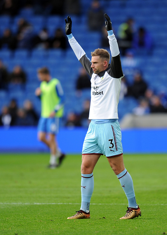 Burnley's Charlie Taylor during the pre-match warm-up <br /> <br /> Photographer Ashley Western/CameraSport<br /> <br /> The Premier League - Brighton and Hove Albion v Burnley - Saturday 16th December 2017 - The Amex Stadium - Brighton<br /> <br /> World Copyright © 2017 CameraSport. All rights reserved. 43 Linden Ave. Countesthorpe. Leicester. England. LE8 5PG - Tel: +44 (0) 116 277 4147 - admin@camerasport.com - www.camerasport.com
