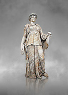 Roman marble sculpture known as the 'Flora Maggiore' , a 2nd century AD, inv no 5978 Farnese Collection, Naples  Museum of Archaeology, Italy ..<br /> <br /> If you prefer to buy from our ALAMY STOCK LIBRARY page at https://www.alamy.com/portfolio/paul-williams-funkystock/greco-roman-sculptures.html . Type -    Naples    - into LOWER SEARCH WITHIN GALLERY box - Refine search by adding a subject, place, background colour, etc.<br /> <br /> Visit our ROMAN WORLD PHOTO COLLECTIONS for more photos to download or buy as wall art prints https://funkystock.photoshelter.com/gallery-collection/The-Romans-Art-Artefacts-Antiquities-Historic-Sites-Pictures-Images/C0000r2uLJJo9_s0