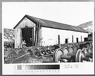 """Durango car shop and wheelset storage as viewed from southeast.<br /> D&RGW  Durango, CO  Taken by Schnepf, Ted - 1971<br /> In book """"Durango: Always a Railroad Town (1st ed.)"""" page 48<br /> Same image as RD003-024."""