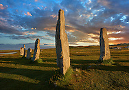Outer row of stones, 27 metres long, at sunset,  leading to the central stone circle, circa 2900BC.  Calanais Neolithic Standing Stone (Tursachan Chalanais) , Isle of Lewis, Outer Hebrides, Scotland. .<br /> <br /> Visit our SCOTLAND HISTORIC PLACXES PHOTO COLLECTIONS for more photos to download or buy as wall art prints https://funkystock.photoshelter.com/gallery-collection/Images-of-Scotland-Scotish-Historic-Places-Pictures-Photos/C0000eJg00xiv_iQ<br /> '<br /> Visit our PREHISTORIC PLACES PHOTO COLLECTIONS for more  photos to download or buy as prints https://funkystock.photoshelter.com/gallery-collection/Prehistoric-Neolithic-Sites-Art-Artefacts-Pictures-Photos/C0000tfxw63zrUT4