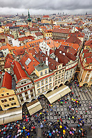 Prague's Old Town Square from the top of the Old Town Hall tower