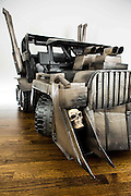 This Halloween, four-year-old Cooper and 11-month-old sister Ziggy are very lucky children. Their parents, Cory and Jeremy Newton-Smith have created a war rig for them from the film Mad Max: Fury Road and Cooper and Ziggy are characters Max and Furiosa.<br />  <br /> Both Cory and Jeremy are software engineers and used their knowledge to make the high-tech rig. The car is made out of second-hand PowerWheels and has been enhanced with cardboard and paint. It is powered by four motors and has a throttle, power steering, keyed ignition and sound effects with a pull cord air-horn. A remote controlled iPhone app also allows Ziggy to be able to drive. All in all, a child's dream!<br /> ©Exclusivepix Media