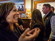 11 APRIL 2019 - DES MOINES, IOWA: US Senator KAMALA HARRIS, (D-CA) at a house party meet and greet for her presidential campaign in Des Moines.  Sen Harris is one of the leading candidates to be Democratic nominee for the US Presidency. Iowa traditionally hosts the the first election event of the presidential election cycle. The Iowa Caucuses will be on Feb. 3, 2020.   PHOTO BY JACK KURTZ