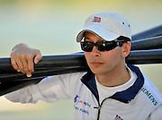 Banyoles, SPAIN, GBR M8+, cox Phelan HILL, carrying the cews oars, FISA World Cup Rd 1. Lake Banyoles  Saturday,  30/05/2009   [Mandatory Credit. Peter Spurrier/Intersport Images]