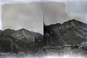 mountain qearry with village Japan ca 1940s