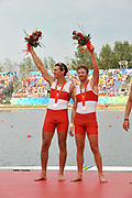 Shunyi, CHINA.  CAN M2-, Silver medalist,  left Dave CALDER and Scott FRANSENat the 2008 Olympic Regatta, Shunyi Rowing Course.  Sat,.16.08.2008.  [Mandatory Credit: Peter SPURRIER, Intersport Images