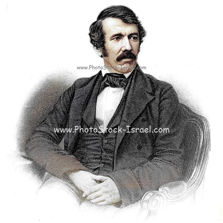 Machine Colourized (AI) Portrait of Reverend David Livingstone From book ' Missionary travels and researches in South Africa : including a sketch of sixteen years' residence in the interior of Africa, and a journey from the Cape of Good Hope to Loanda, on the west coast, thence across the continent, down the river Zambesi, to the eastern ocean ' by David Livingstone Published in London in 1857